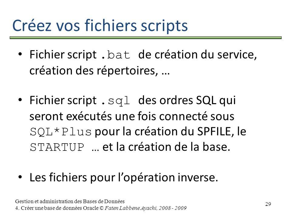 Créez vos fichiers scripts