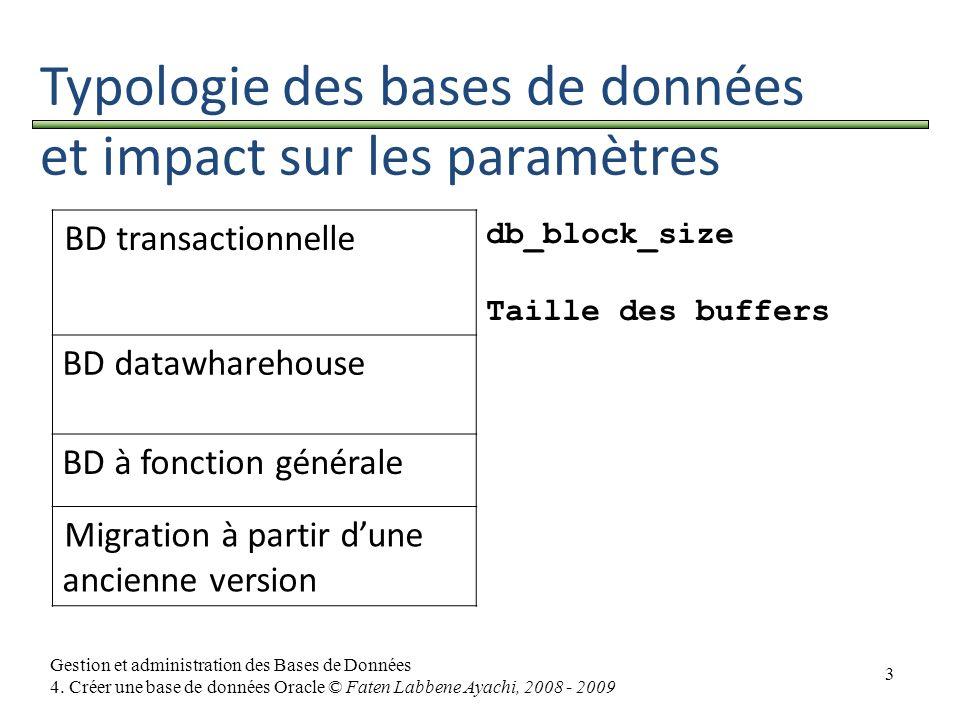 Typologie des bases de données et impact sur les paramètres