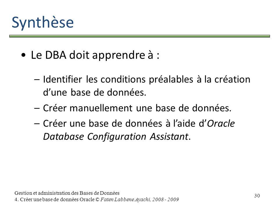 Synthèse Le DBA doit apprendre à :
