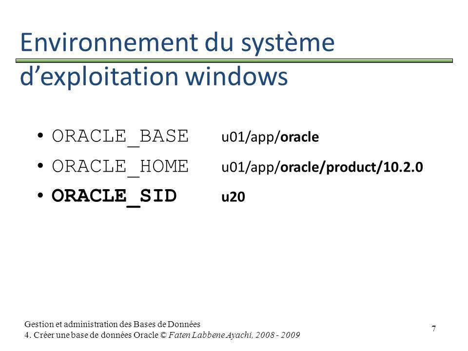 Environnement du système d'exploitation windows