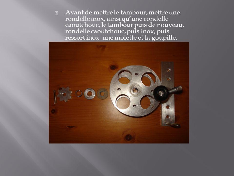 Avant de mettre le tambour, mettre une rondelle inox, ainsi qu'une rondelle caoutchouc, le tambour puis de nouveau, rondelle caoutchouc, puis inox, puis ressort inox une molette et la goupille.