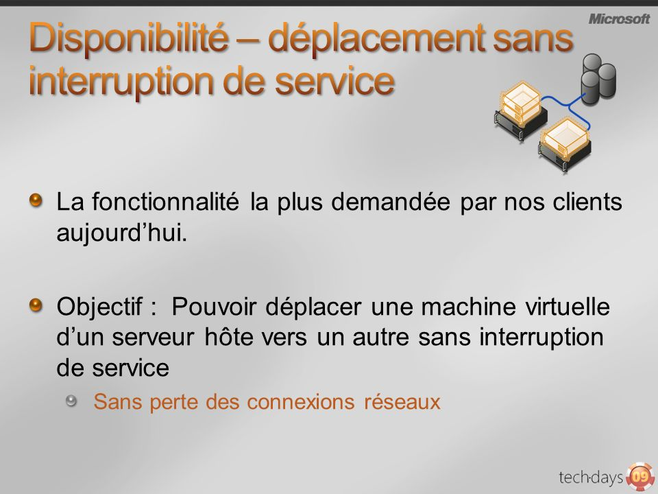 Disponibilité – déplacement sans interruption de service