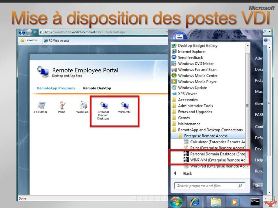Mise à disposition des postes VDI
