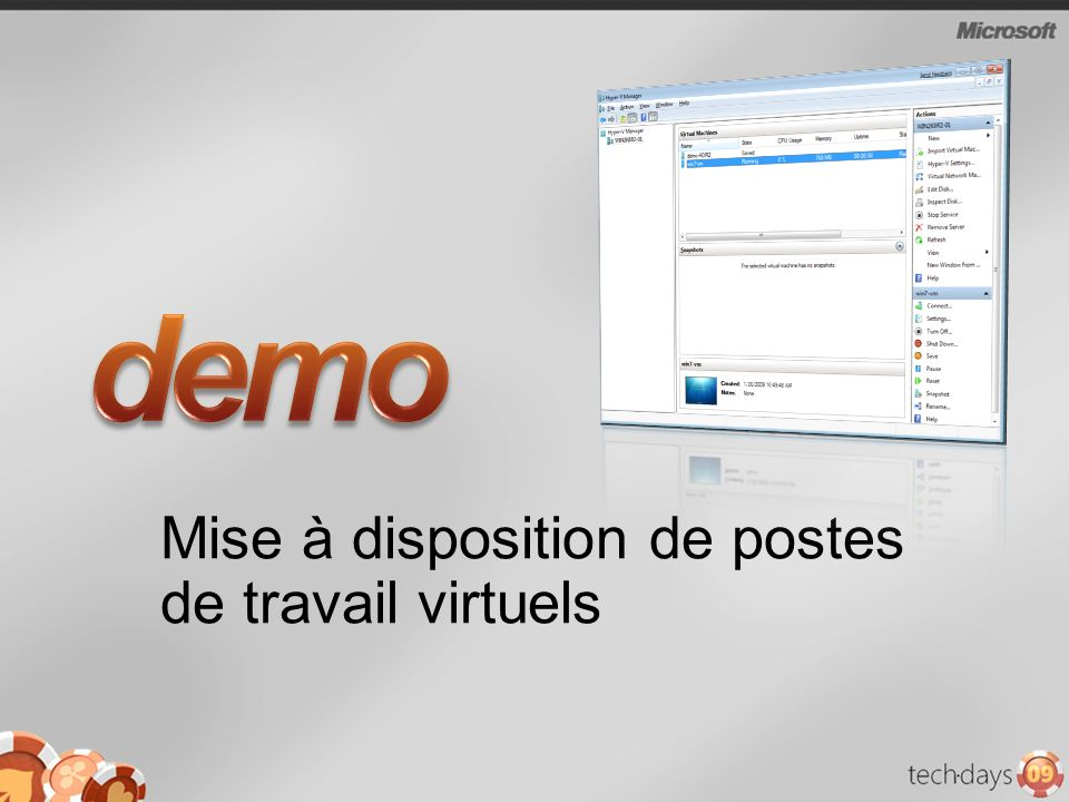 Mise à disposition de postes de travail virtuels