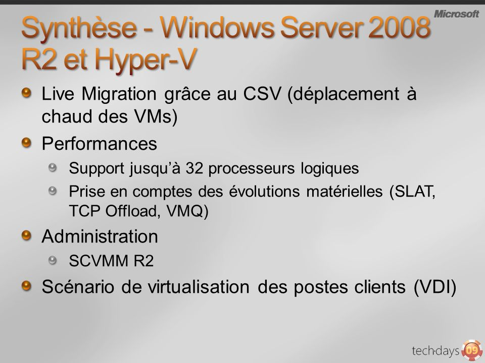 Synthèse - Windows Server 2008 R2 et Hyper-V