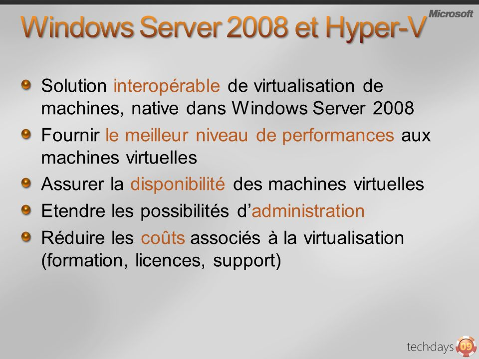 Windows Server 2008 et Hyper-V