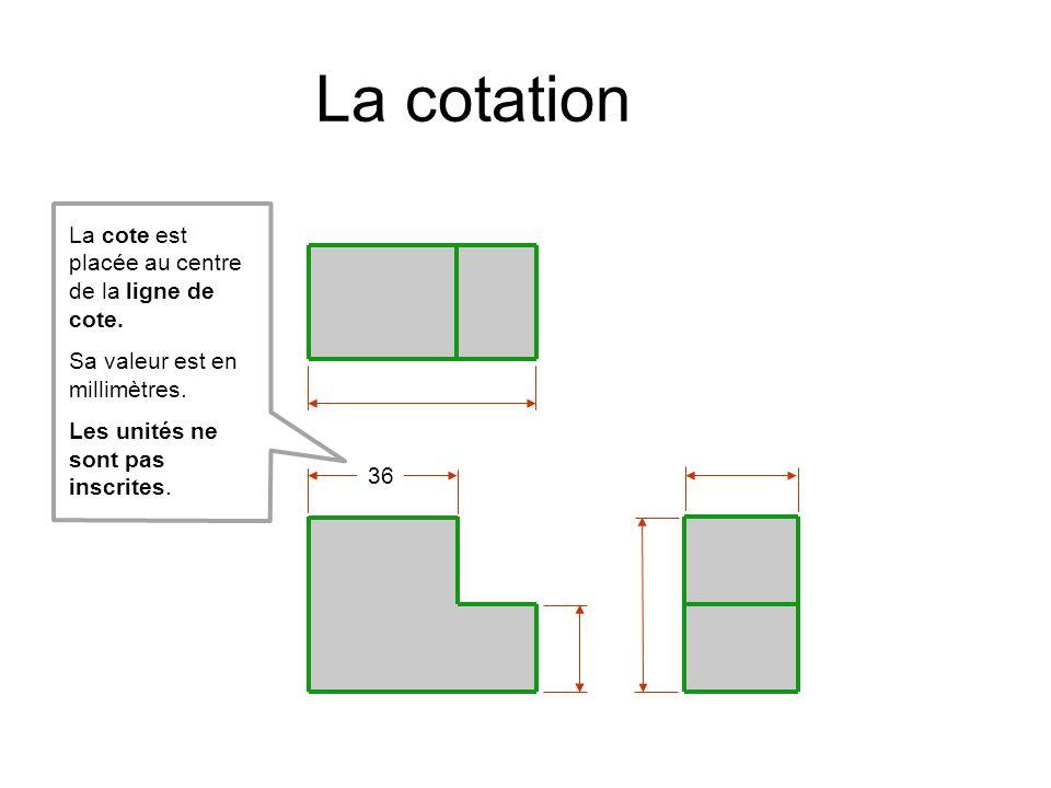 La cotation La cote est placée au centre de la ligne de cote.