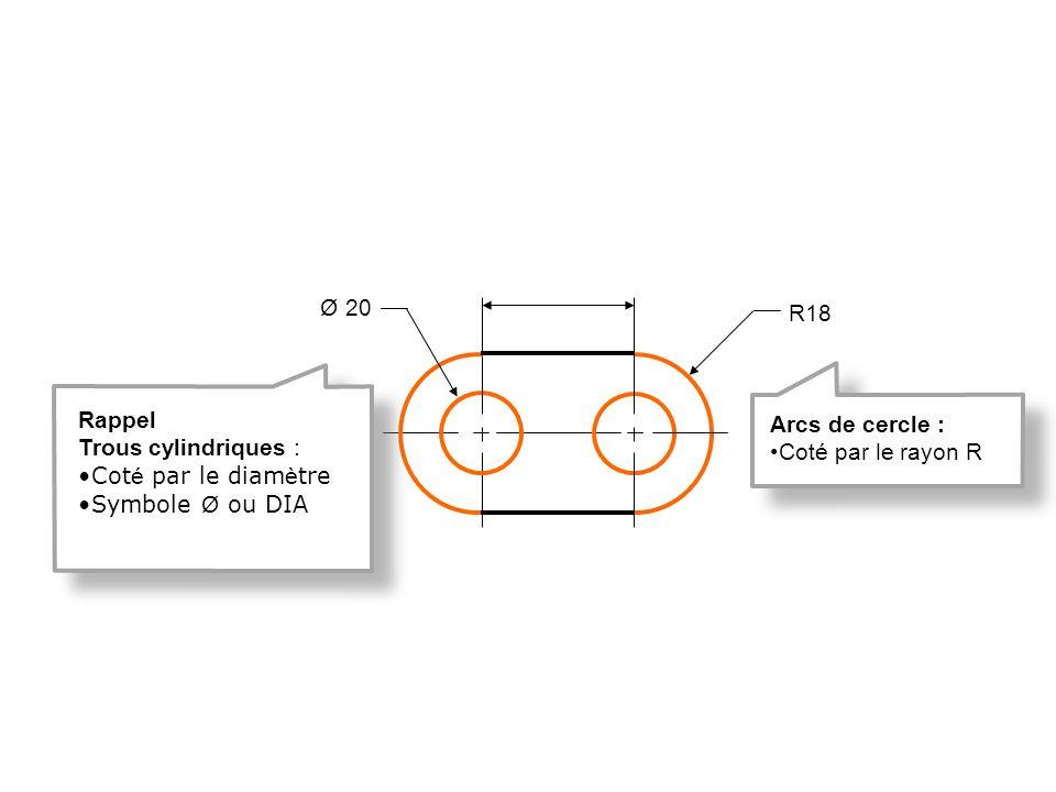 Ø 20 R18. Rappel. Trous cylindriques : Coté par le diamètre. Symbole Ø ou DIA. Arcs de cercle :