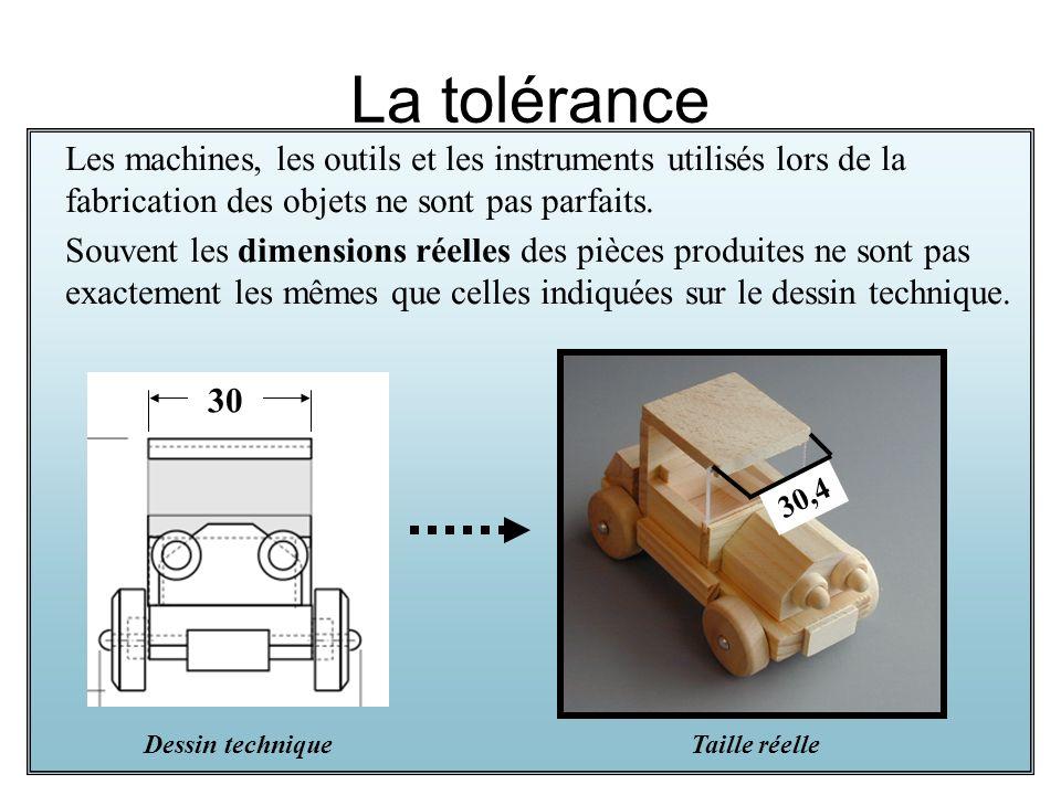 La tolérance Les machines, les outils et les instruments utilisés lors de la fabrication des objets ne sont pas parfaits.