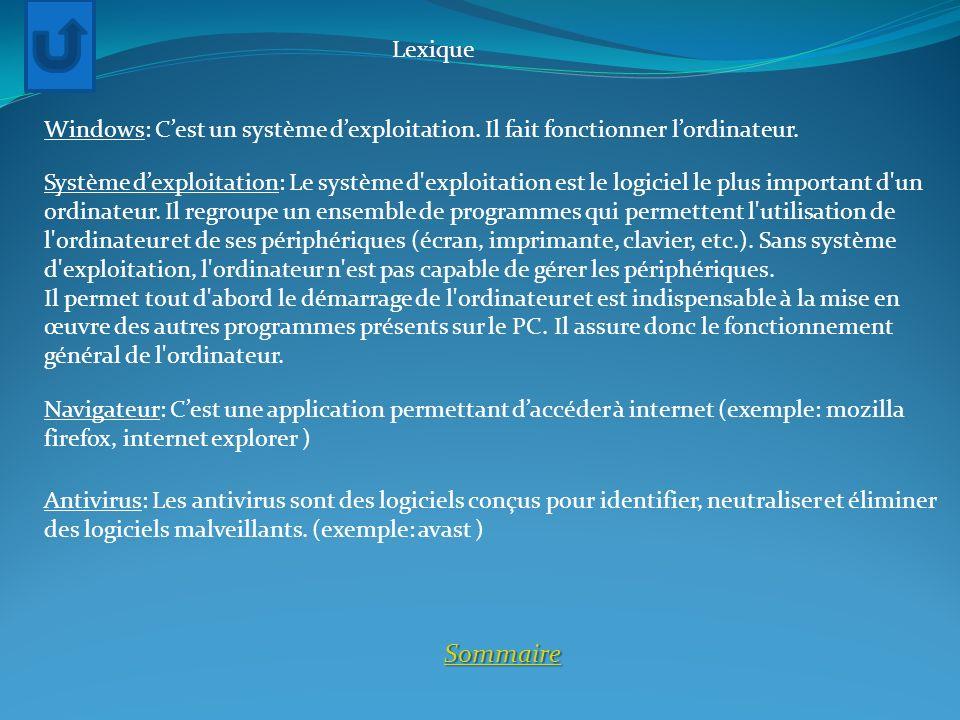 Lexique Windows: C'est un système d'exploitation. Il fait fonctionner l'ordinateur.