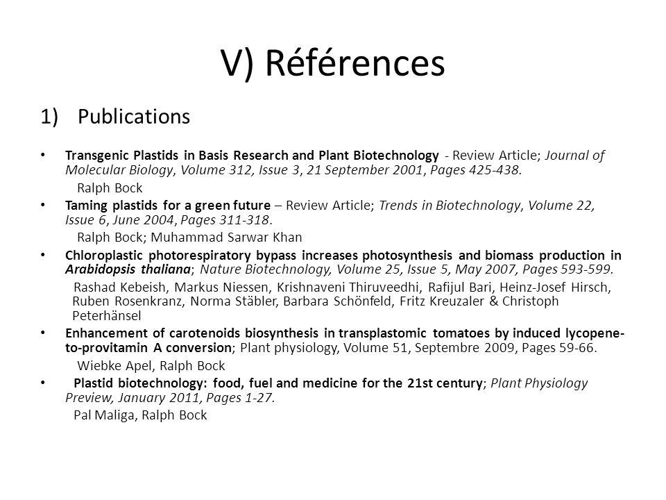 V) Références Publications