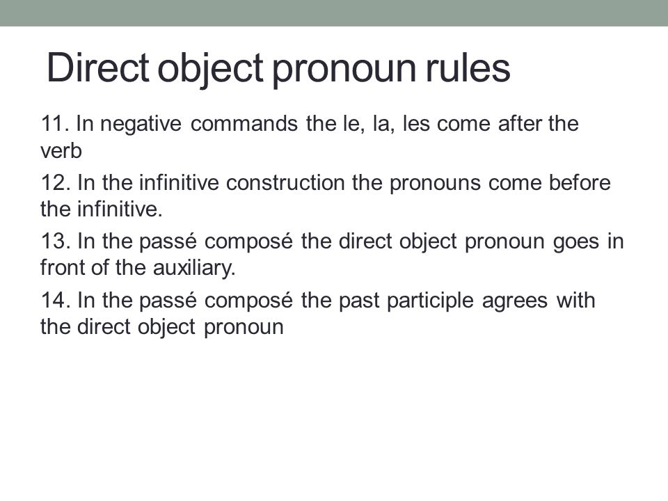 Direct object pronoun rules