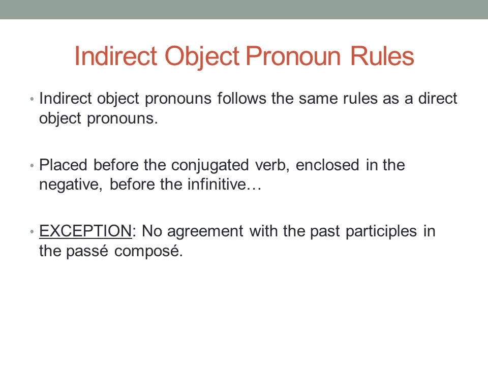 Indirect Object Pronoun Rules