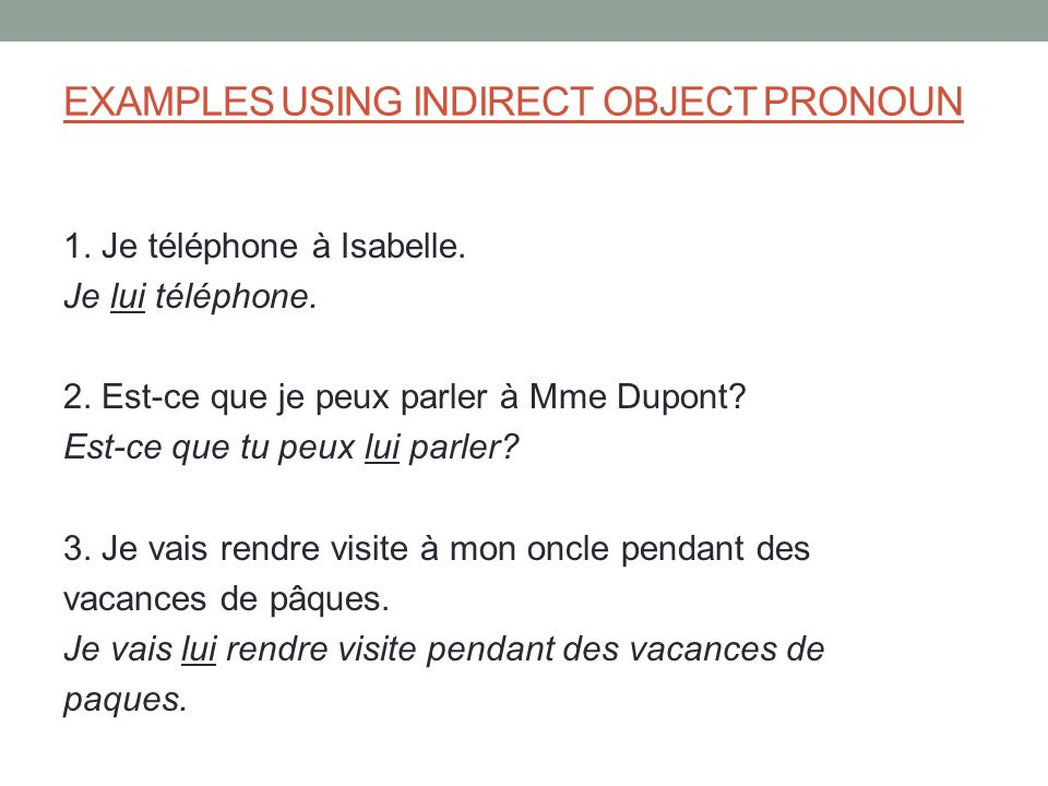 EXAMPLES USING INDIRECT OBJECT PRONOUN