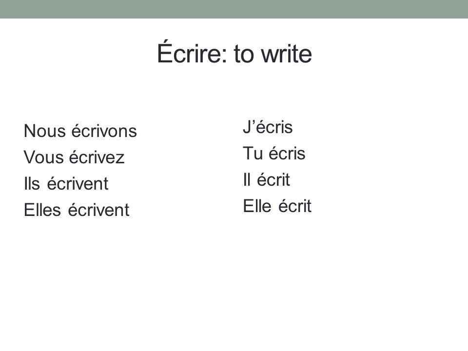 Écrire: to write J'écris Tu écris Il écrit Elle écrit