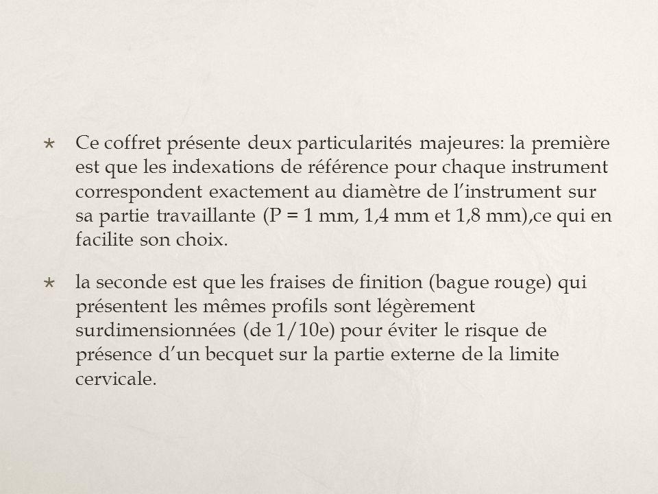 Ce coffret présente deux particularités majeures: la première est que les indexations de référence pour chaque instrument correspondent exactement au diamètre de l'instrument sur sa partie travaillante (P = 1 mm, 1,4 mm et 1,8 mm),ce qui en facilite son choix.