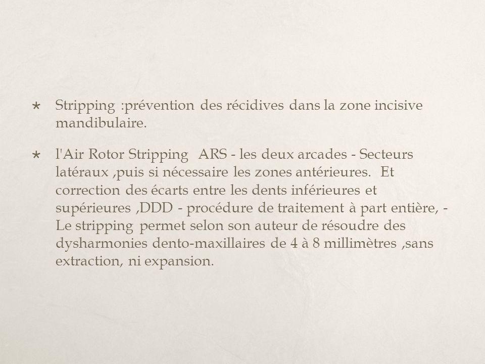 Stripping :prévention des récidives dans la zone incisive mandibulaire.