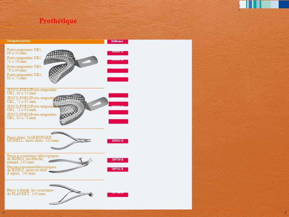 Prothétique DR081 R DR082 R DR083 R DR084 R DR201 R DR202 R DR203 R