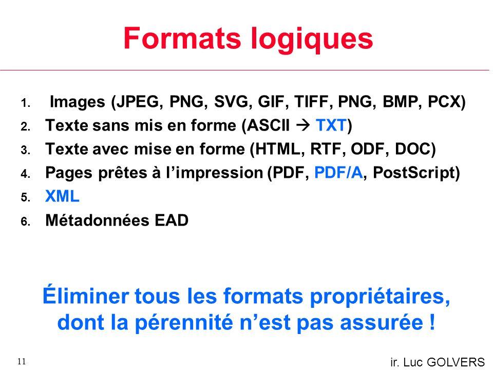Formats logiques Images (JPEG, PNG, SVG, GIF, TIFF, PNG, BMP, PCX) Texte sans mis en forme (ASCII  TXT)