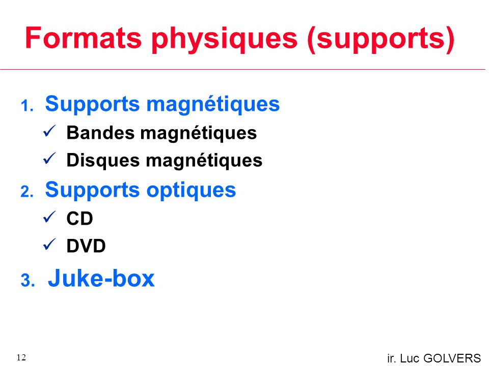 Formats physiques (supports)
