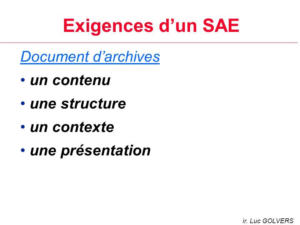 Exigences d'un SAE Document d'archives un contenu une structure