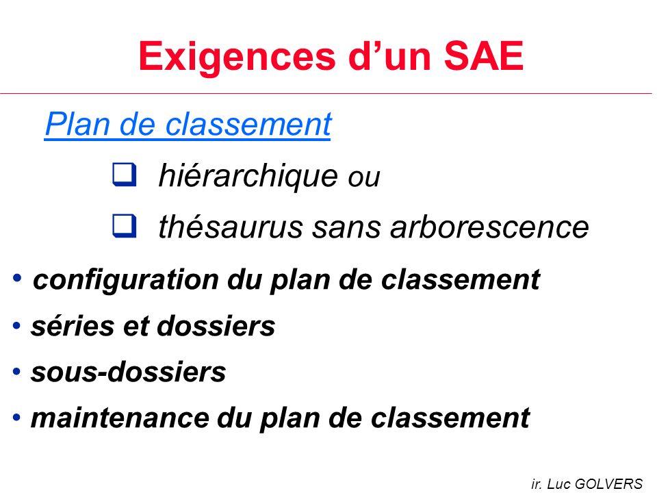 Exigences d'un SAE Plan de classement hiérarchique ou