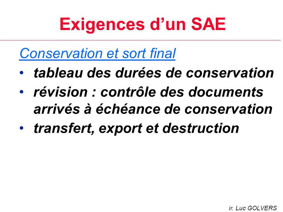 Exigences d'un SAE Conservation et sort final