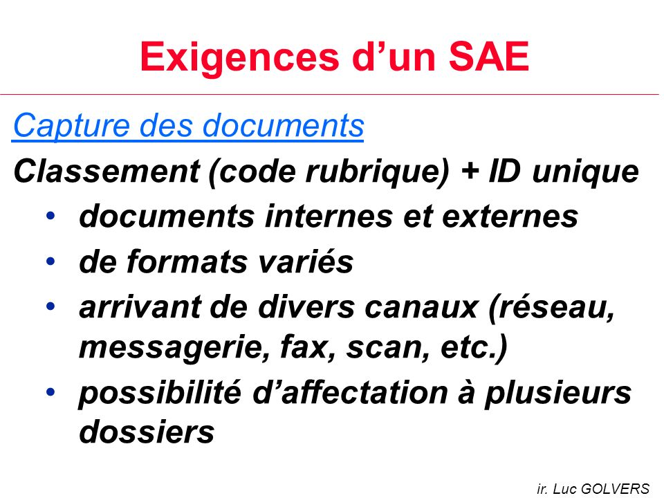 Exigences d'un SAE Capture des documents