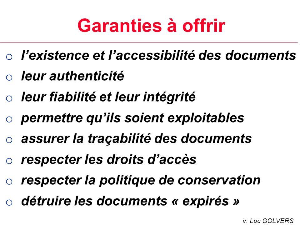 Garanties à offrir l'existence et l'accessibilité des documents
