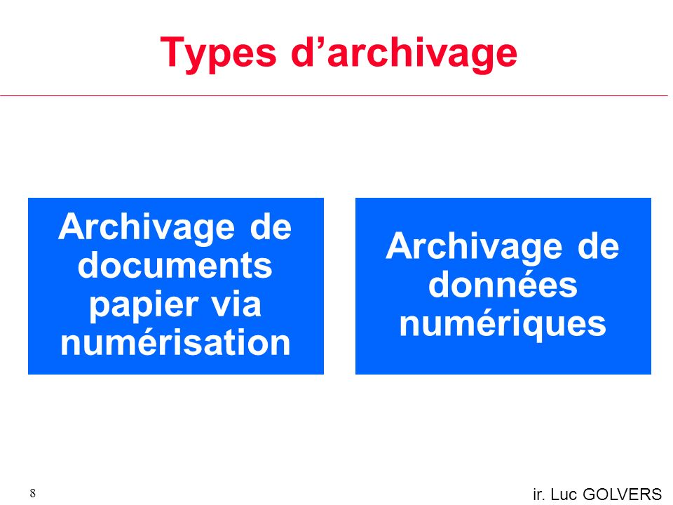 Types d'archivage Archivage de documents papier via numérisation