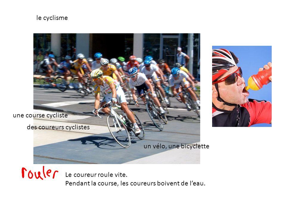 le cyclisme une course cycliste. des coureurs cyclistes. un vélo, une bicyclette. Le coureur roule vite.