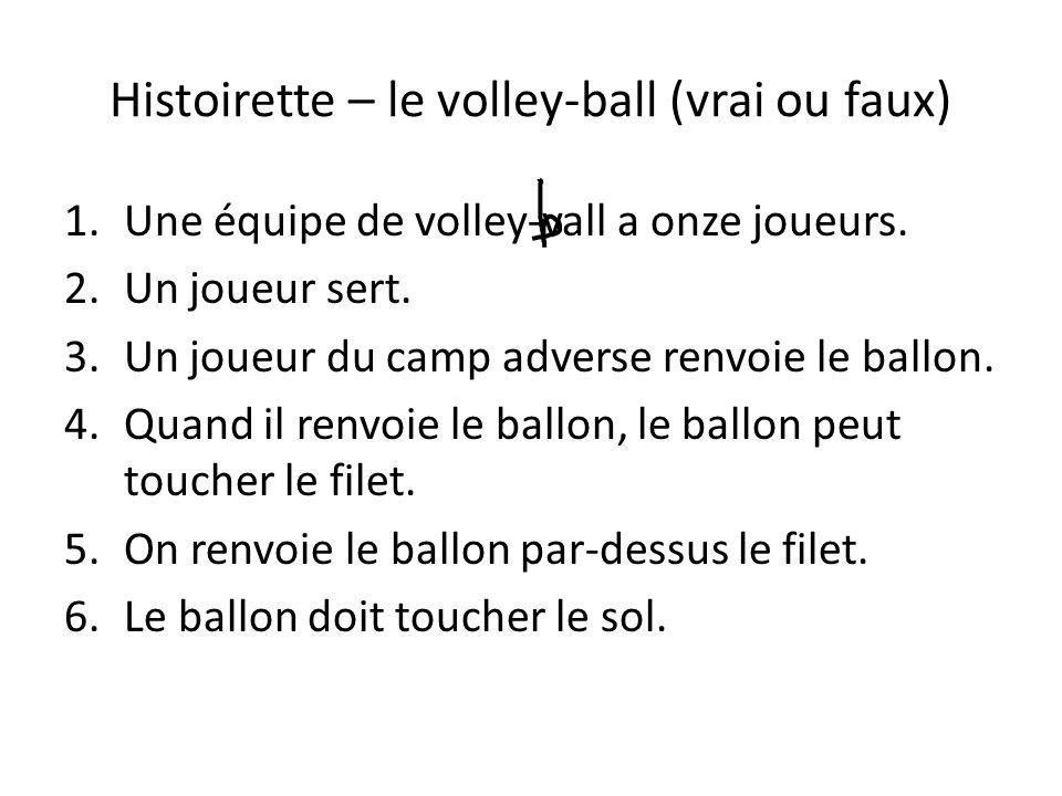 Histoirette – le volley-ball (vrai ou faux)