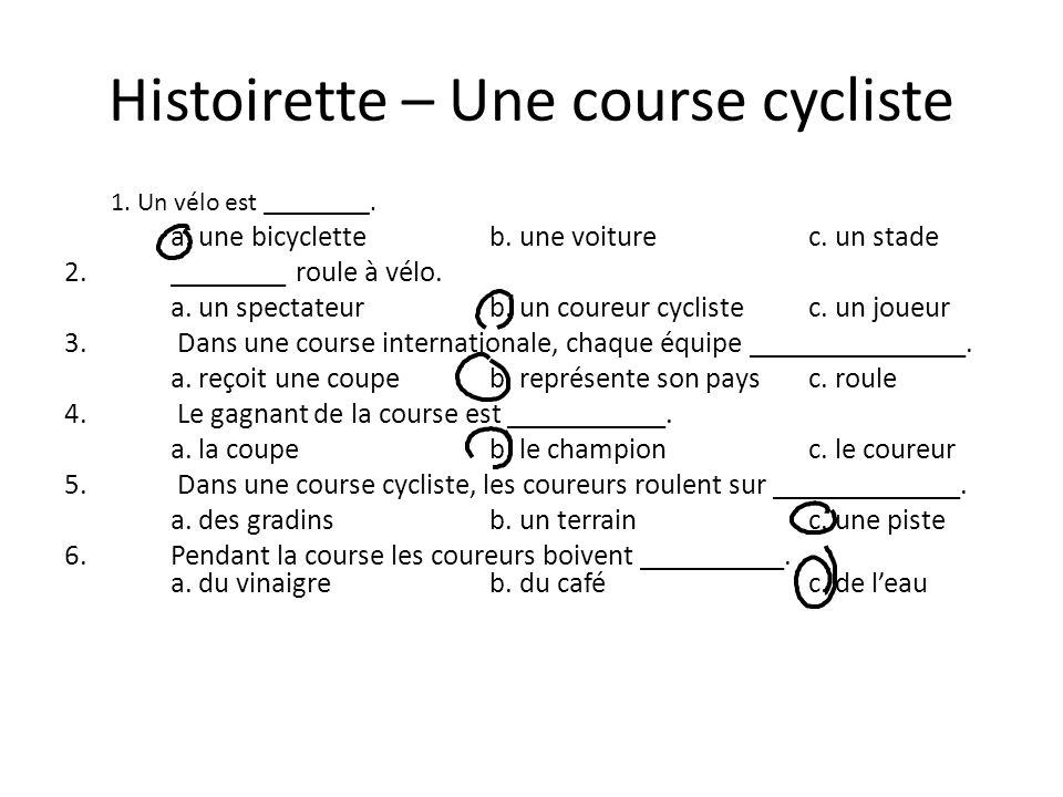 Histoirette – Une course cycliste