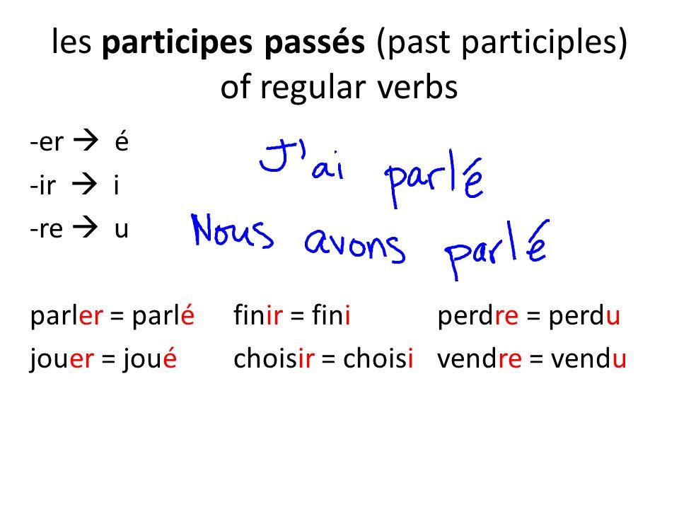 les participes passés (past participles) of regular verbs