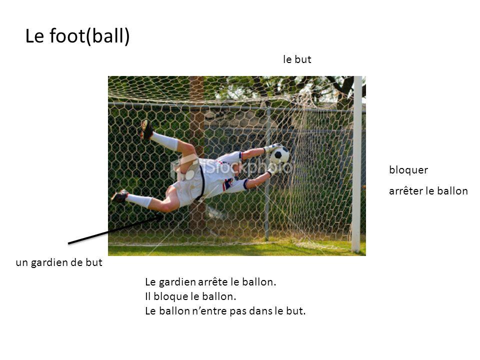 Le foot(ball) le but bloquer arrêter le ballon un gardien de but