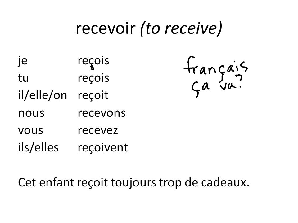 recevoir (to receive)