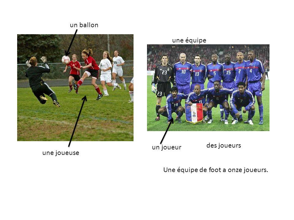 un ballon une équipe un joueur des joueurs une joueuse Une équipe de foot a onze joueurs.
