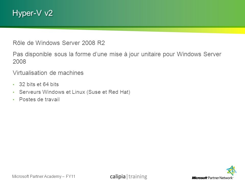 Hyper-V v2 Rôle de Windows Server 2008 R2