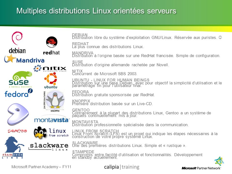 Multiples distributions Linux orientées serveurs