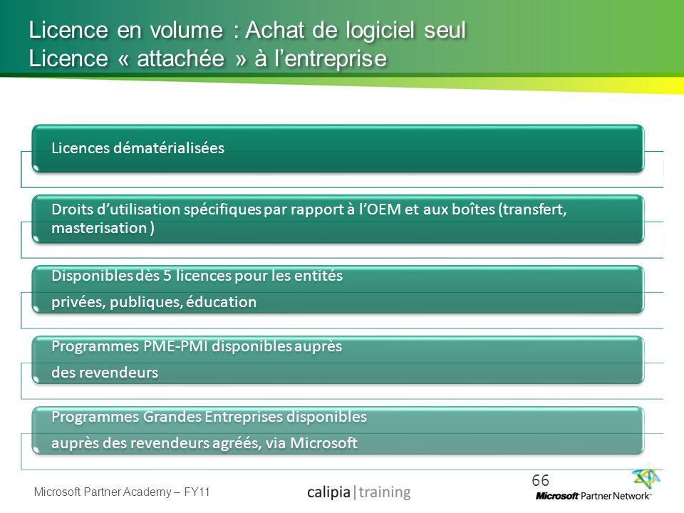 Licence en volume : Achat de logiciel seul Licence « attachée » à l'entreprise