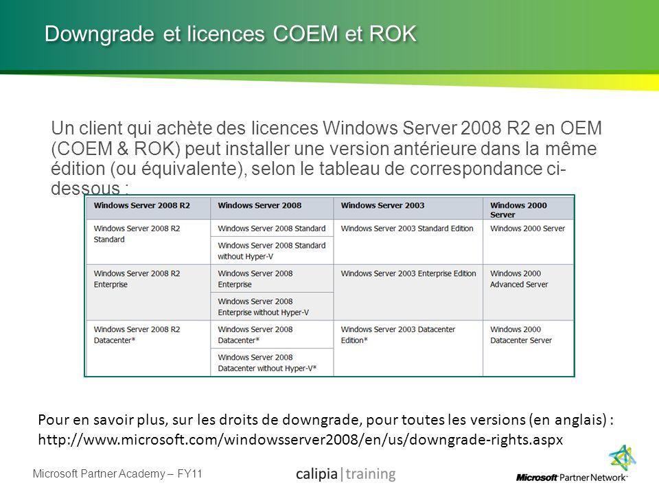 Downgrade et licences COEM et ROK
