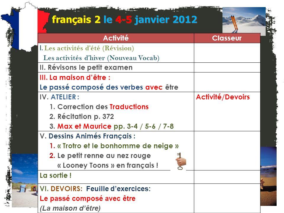 français 2 le 4-5 janvier 2012 Activité Classeur