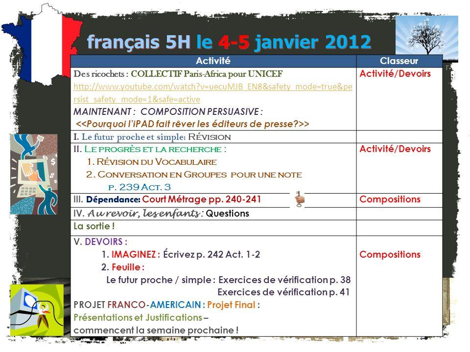français 5H le 4-5 janvier 2012 Activité Classeur