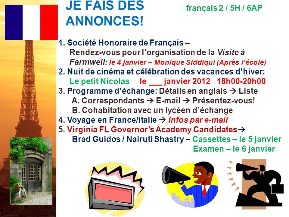 JE FAIS DES ANNONCES! français 2 / 5H / 6AP