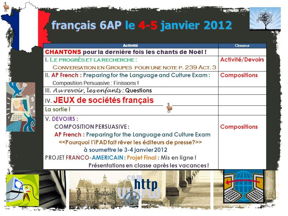 français 6AP le 4-5 janvier 2012