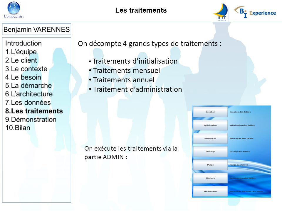 On décompte 4 grands types de traitements :