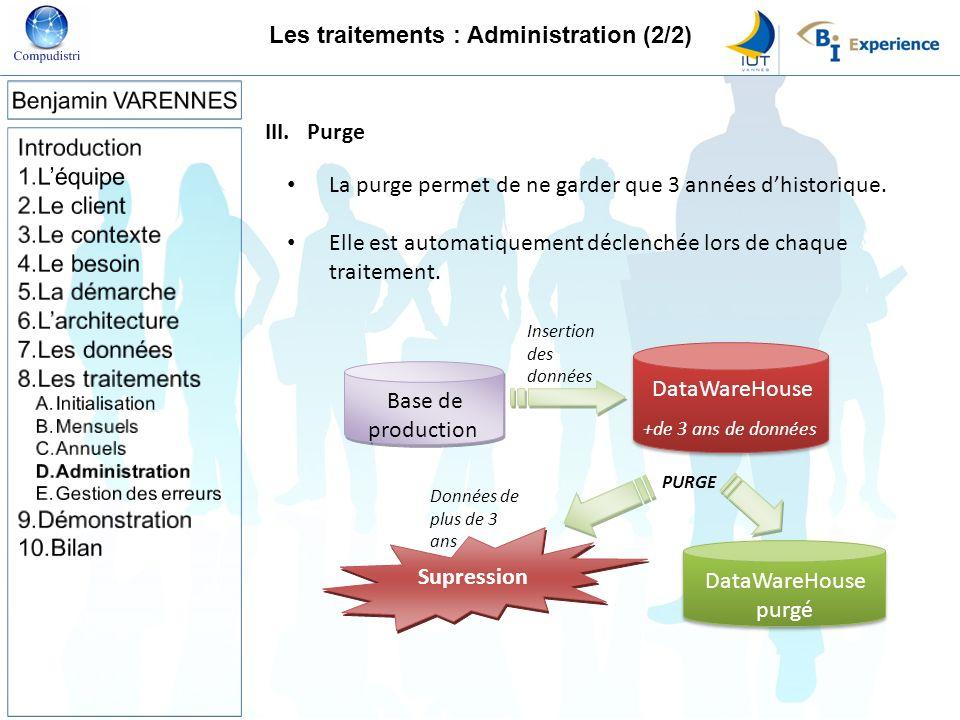 Les traitements : Administration (2/2)
