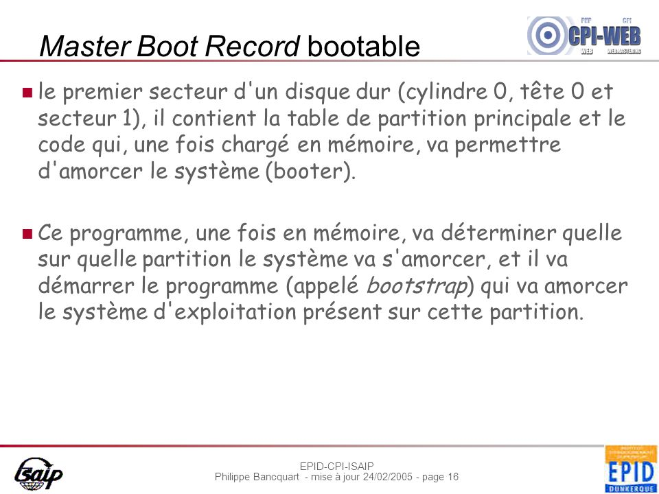 Master Boot Record bootable