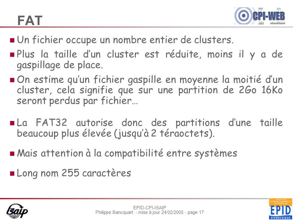 FAT Un fichier occupe un nombre entier de clusters.