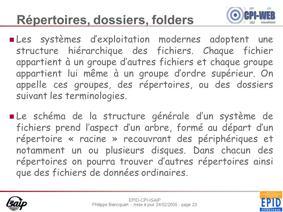 Répertoires, dossiers, folders